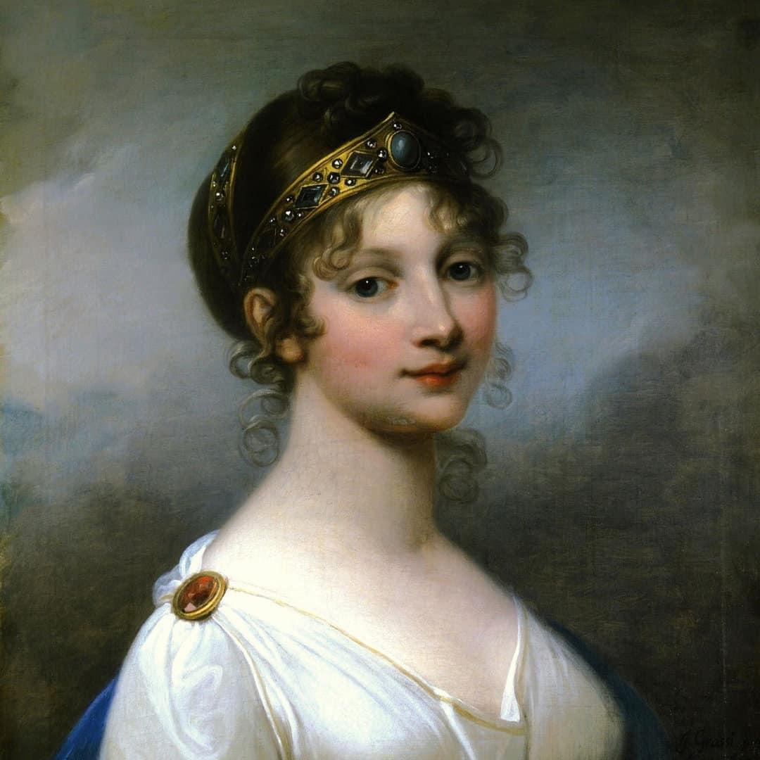 Portraitgemälde von Königin Luise mit Diadem, lockigem Haar und weißem Kleid