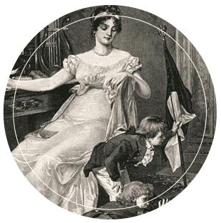 Angejahrtes Bild von Berühmtheit Königin Luise sitzend mit zwei Kindern