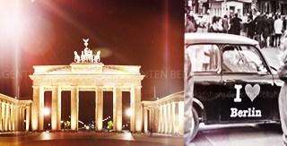 """Frontalansicht des Brandenburger Tors und Trabbi mit """"I love Berlin"""" Schriftzug"""